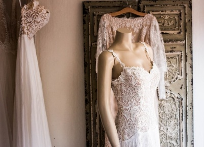 Wedding dress created using the Best Sewing Machine For Wedding Dresses